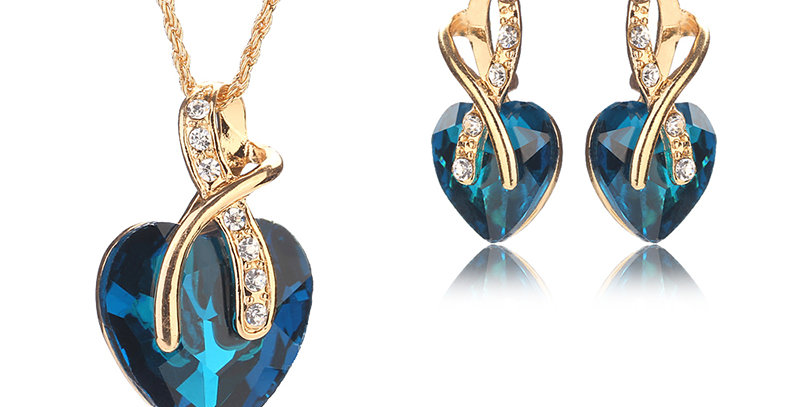 A Tender Heart Crystal and Cubic Zirconia Gold Plated Jewellery Set for Girls