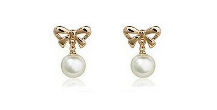 Pristine Pearl 18K Yellow Gold Plated Pearl Earrings for Girls and Women