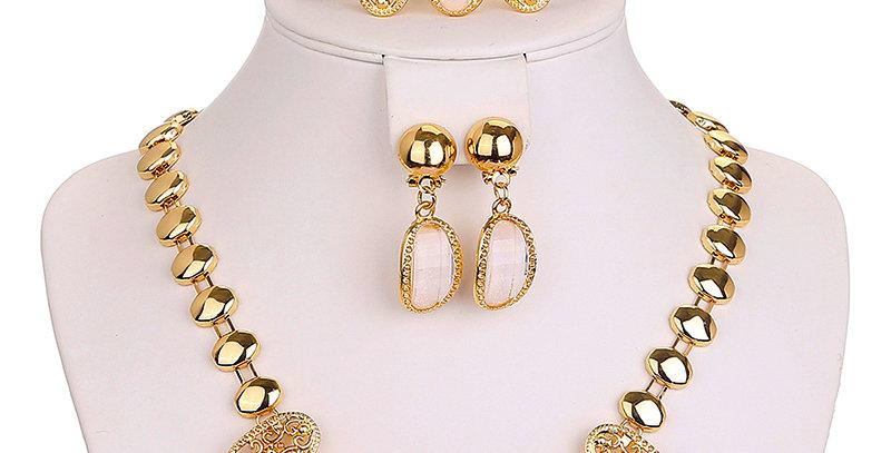 Silver Shoppee Gold Plated Jewellery Set for Women (Golden) (SSJS2209A)