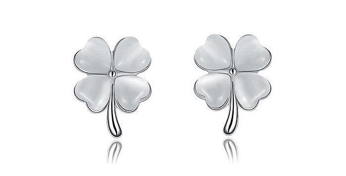 Silver Shoppee Jhumki Earrings for Women (White) (SSER0287)