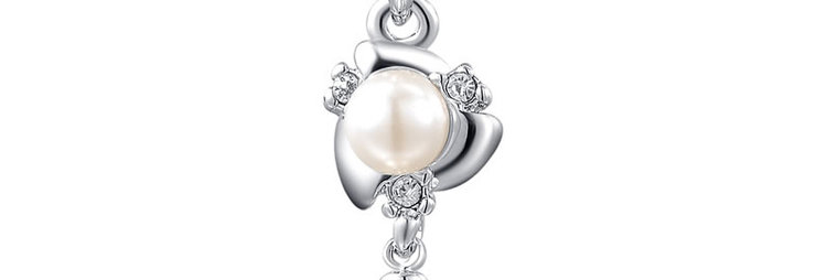 Pristine Pearl Crystal and Pearl 18K White Gold Plated Pendant for Girls