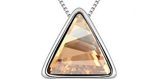 Triangle Love Rhodium Plated Crystal Studded Alloy Pendant for Girls and Women