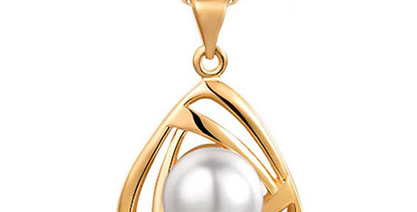 Pristine Pearl 18K Yellow Gold Plated Pearl Studded Pendant for Girls and Women