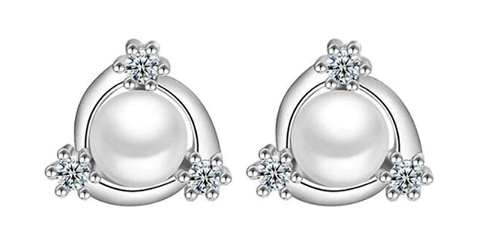 Silver Shoppee Silver Plated Jhumki Earrings for Women (White) (SSER1434)