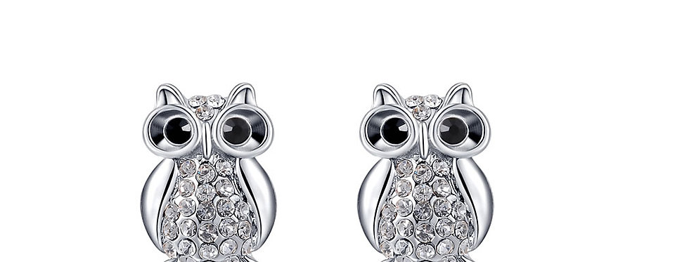 Studded Owl Austrian Crystal Sterling Silver Earrings for Women (SSER1320)