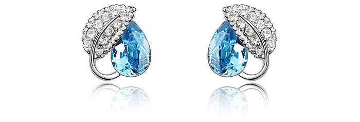 Spring of Love Rhodium Plated Crystal and Cubic Zirconia Earrings for Girls