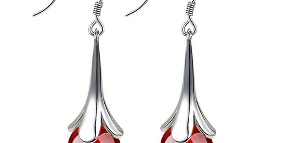 Silver Shoppee Silver Plated Jhumki Earrings for Women (Red) (SSER1423C)