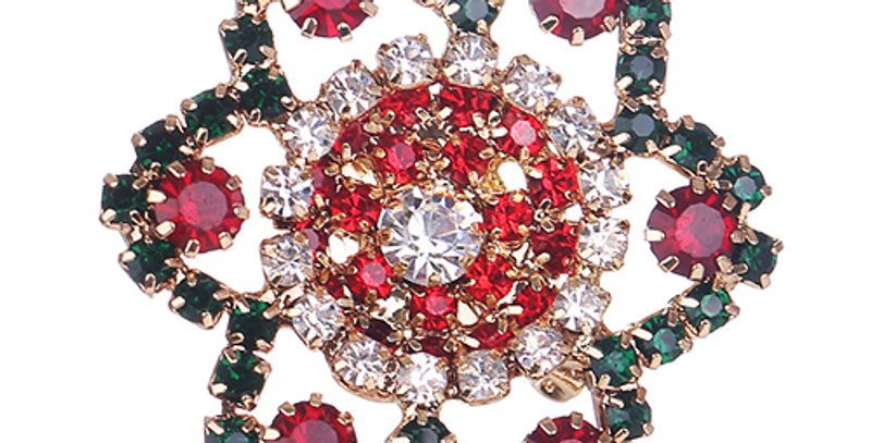 Silver Shoppee Gold Plated Brooches for Women (Red) (SSBO0926)