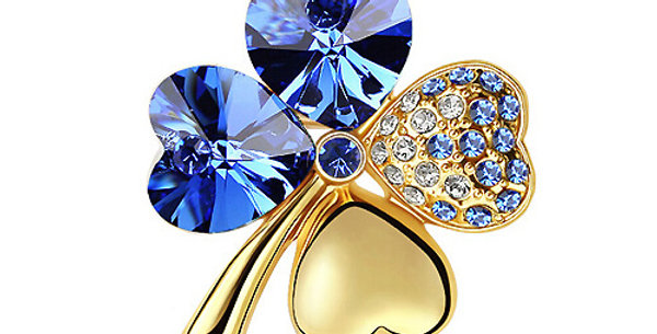 Valentine Special Gold Plated Crystal and Cubic Zirconia Brooch for Girls