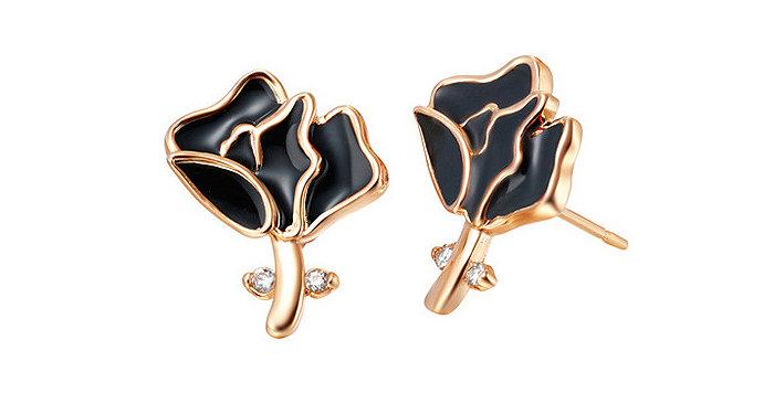 Silver Shoppee Jhumki Earrings for Women (Black) (SSER0295B)