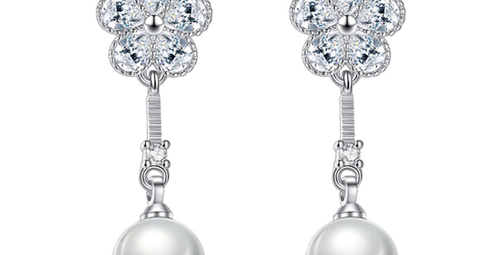 Silver Plated Fashion High Quality Crystal Pearl Drop Earrings for Girls