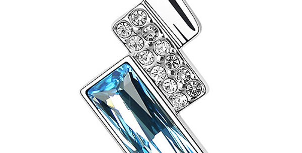 Silver Shoppee Pendant for Women (Silver Blue) (SSPD0505A)