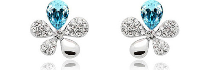 Blooming Love Rhodium Plated Crystal and Cubic Zirconia Earrings for Girls