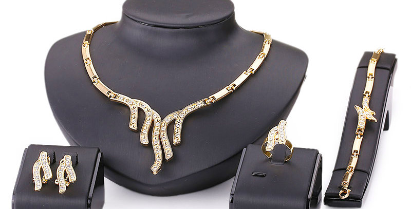 Spring of Love Crystal and Cubic Zirconia Gold Plated Jewellery Set for Girls