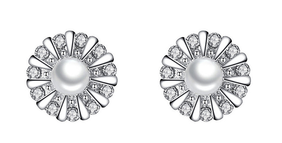 Silver Shoppee Silver Plated Jhumki Earrings for Women (White) (SSER1439)