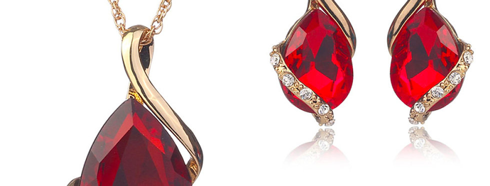 Silver Shoppee Gold Plated Jewellery Set for Women (Red) (SSJS2107D)