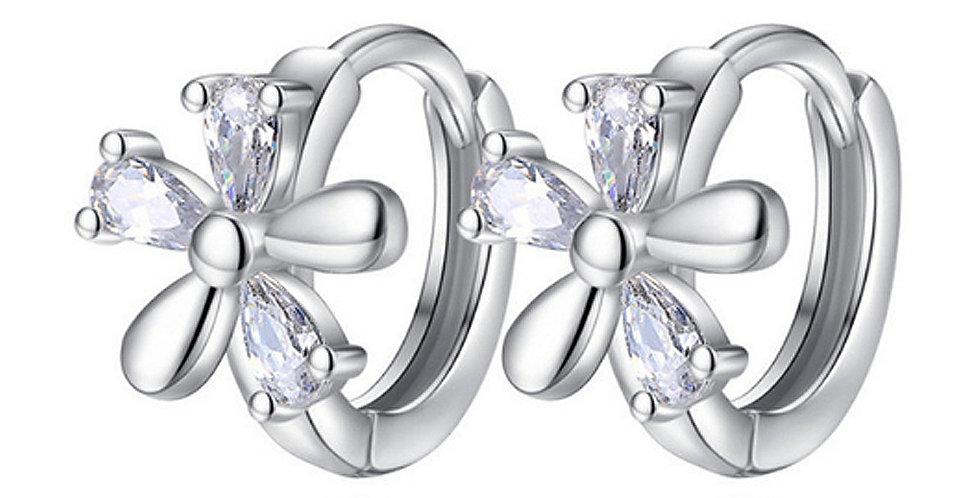 Silver Shoppee Silver Plated Jhumki Earrings for Women (White) (SSER1458)