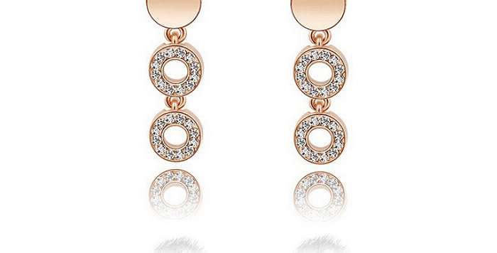 Ring of Undying Love 18K Rose Gold Plated Cubic Zirconia Earrings for Girls