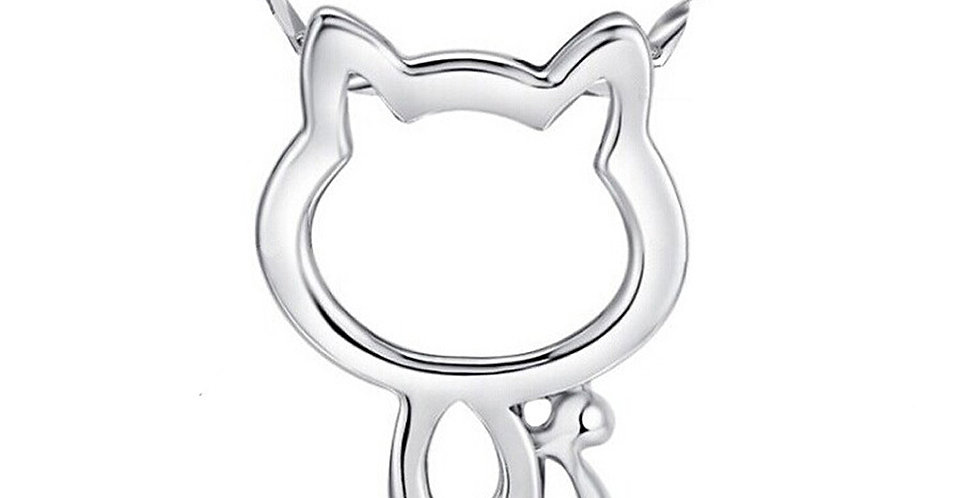 Lucky Cat Sterling Silver Pendant With Chain for Baby Girls, Girls and Women