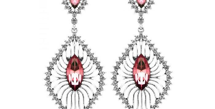 Silver Shoppee Jhumki Earrings for Women (Pink) (SSER1212A)