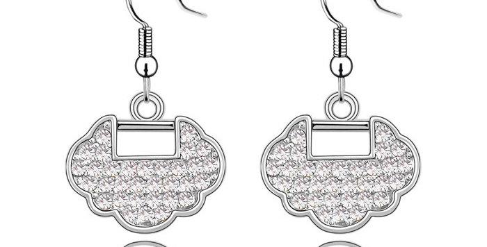 Silver Shoppee Jhumki Earrings for Women (White) (SSER0311A)