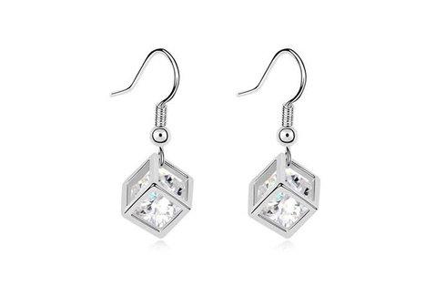 Silver Shoppee Jhumki Earrings for Women (White) (SSER0275)