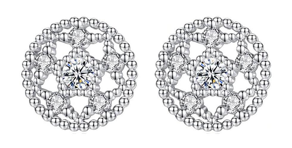 Silver Shoppee Silver Plated Jhumki Earrings for Women (White) (SSER1491)