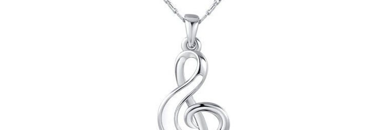 Musical Note, Austrian Crystal Sterling Silver Pendant for Girls