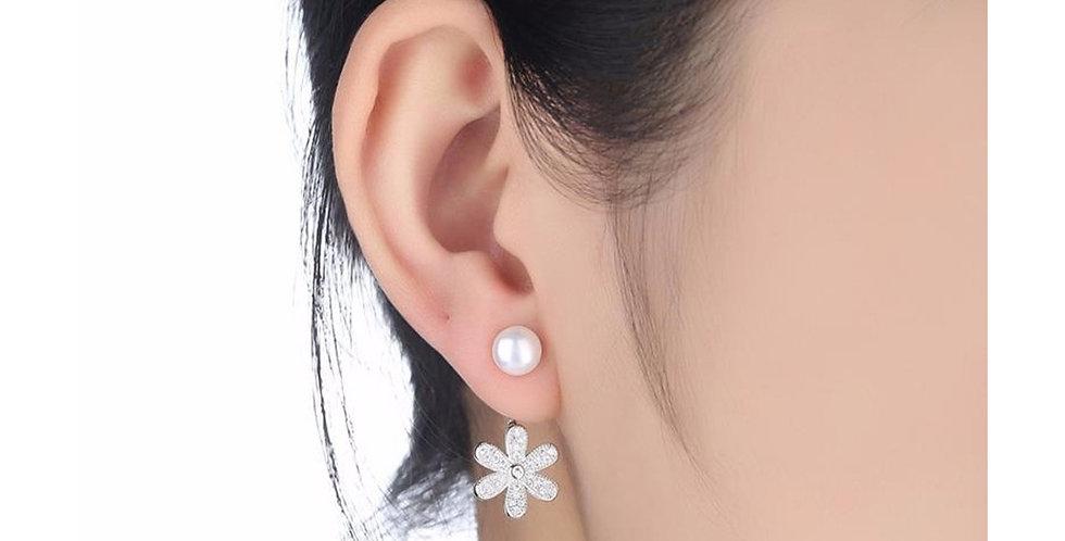 Silver Shoppee Silver Plated Jhumki Earrings for Women (White) (SSER1436)