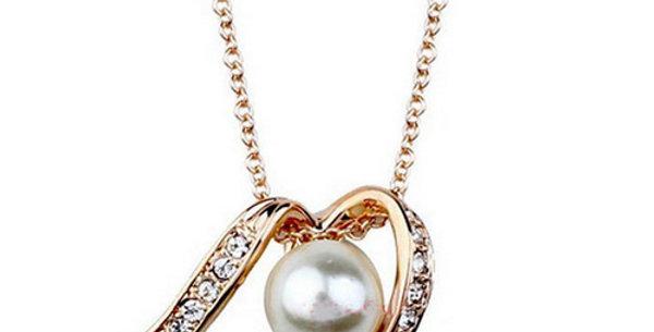 Silver Shoppee Pendant for Women (Gold White) (SSPD0222A)