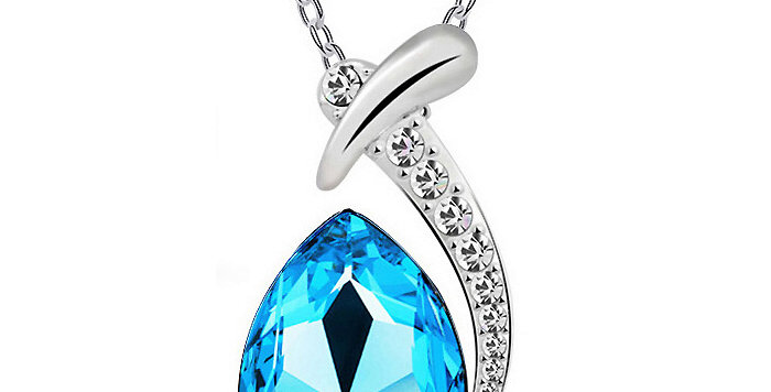 Water Droplet Rhodium Plated Crystal and Cubic Zirconia Pendant for Girls