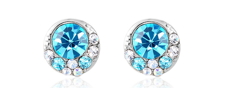 Silver Shoppee Jhumki Earrings for Women (Blue) (SSER1317)