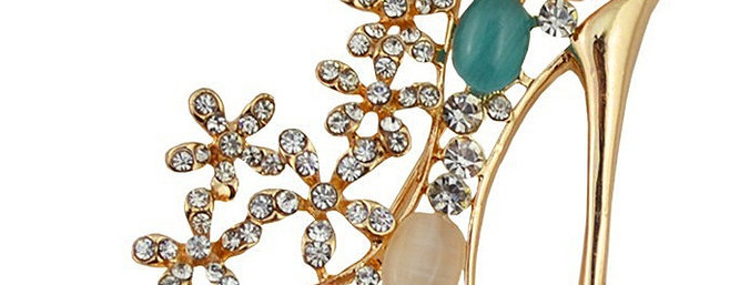 Dazzling Heel 18K Yellow Gold Plated Alloy Brooch For Women (SSBO0940)