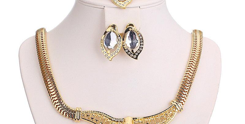 Silver Shoppee Gold Plated Jewellery Set for Women (Golden) (SSJS2207A)