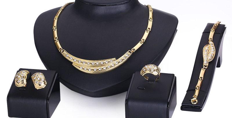 Silver Shoppee Gold Plated Jewellery Set for Women (Golden) (SSJS2232)