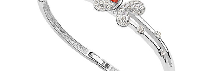 Ebullient Wings Rhodium Plated Crystal and Cubic Zirconia Bracelet for Girls