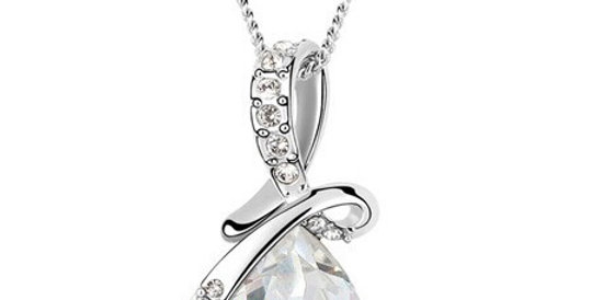 Mysterious Love Rhodium Plated Crystal and Cubic Zirconia Pendant for Girls
