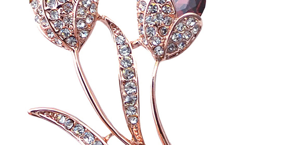 Soaked in Love 18K Rose Gold Plated Crystal and Cubic Zirconia Brooch for Girls