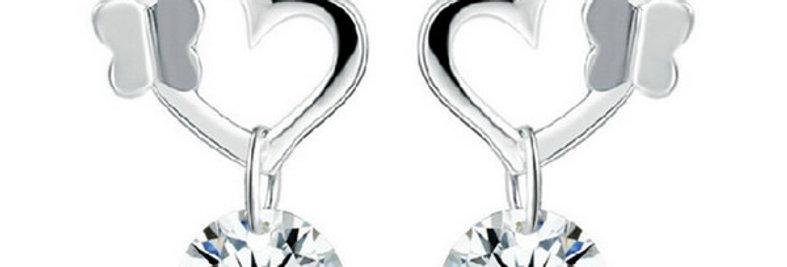 Glowing Heart Sterling Silver Earrings for Kids, Girls and Women (SSER1373)