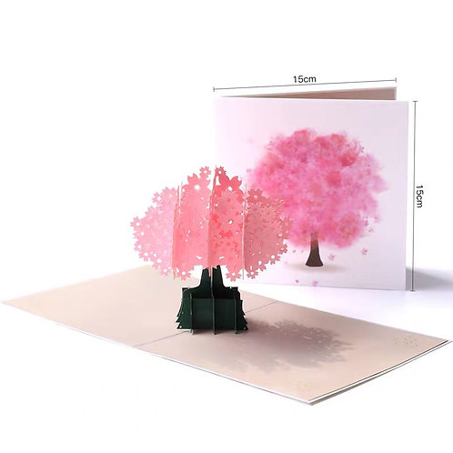 Colourful cherry blossom tree pop up card