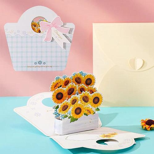 Flower handbag pop up card-sunflower