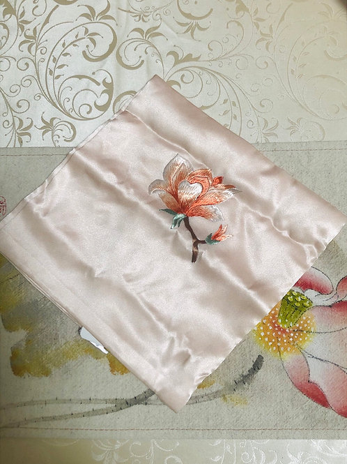 Silk embroidery handkerchief (orchard)