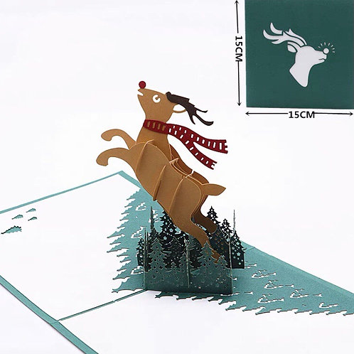 Reindeer with scarf pop up cards