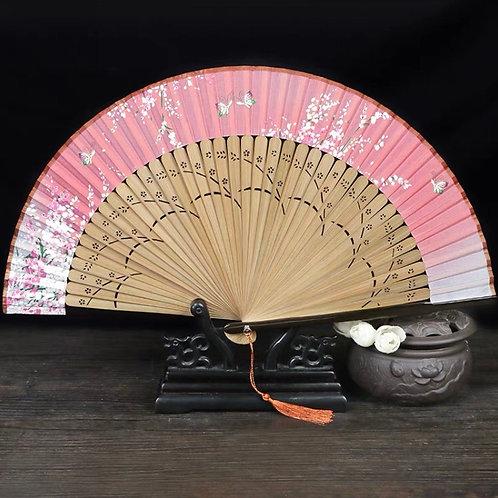 Elegant Fan - Pink + butterfly