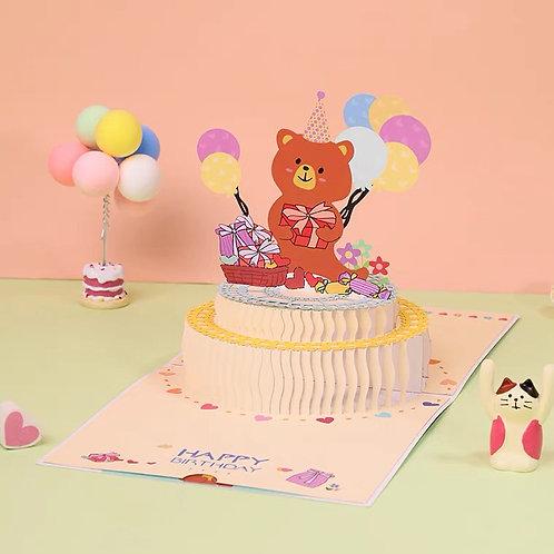 Bear happy birthday pop up card