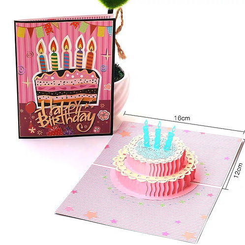 Colourful birthday cake pop up card
