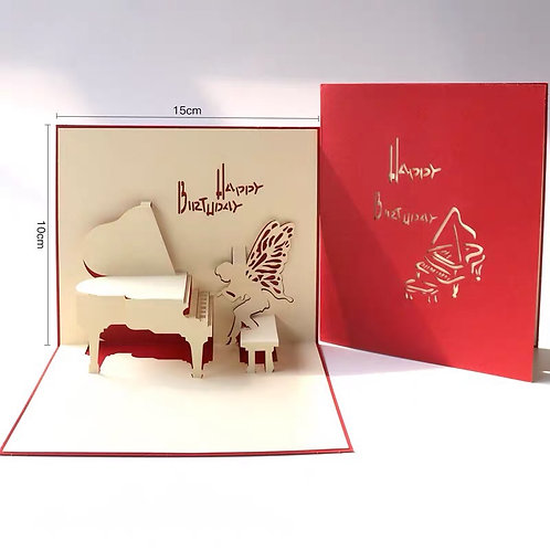 Angel playing piano pop up card