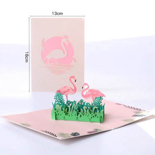 Flamingo pop up card