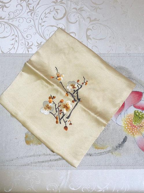 Silk embroidery handkerchief (yellow)