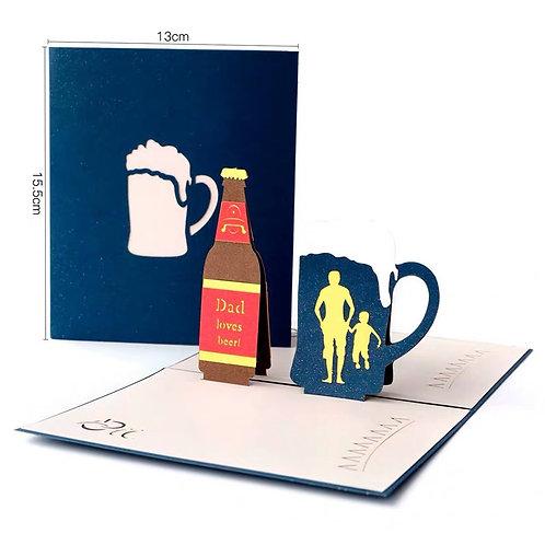 Dad loves beer pop up card